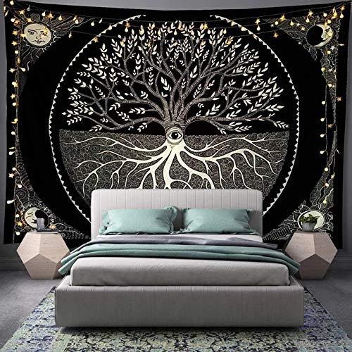 N/A Decoración de Pared Tapiz El último Tapiz de Sol y Luna Mandala en Blanco y Negro Bohemio Colgante de Pared Dormitorio Sala de Estar decoración del Dormitorio
