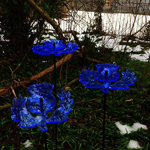 Suncatcher Decorative Garden Stakes Scottish Thistle   3X Large Garden Ornaments   Garden Dcor Accessory Gift, Colour:Blue
