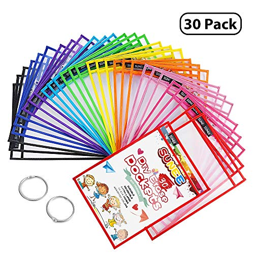 SUNEE Dry Erase Pockets 30 Packs - Reusable & Oversized 10