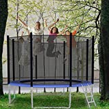 Vilobos 10FT 12FT Trampoline with Safety Enclosure Net Outdoor Combo Bounce Jump Trampolines for Family Backyard -Black&Blue (12FT)