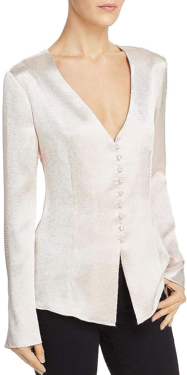 Joie Womens Madora Satin Button Down Blouse Pink XS