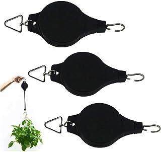 TinaWood 3PCS Pulley Retractable Pulley Plant Hanger Hanging Flower Basket Hook Hanger for Planters Flower Baskets Pots Bi...