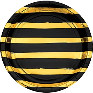 Creative Converting Black and Gold Foil Striped Dinner Plates, 8 Count