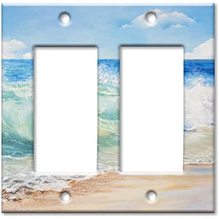 Art Plates Brand Double Gang Rocker Switch Wall Plate Beach Painting Amazon Com