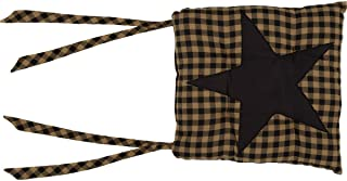 VHC Brands Classic Country Primitive Tabletop & Kitchen - Star Chair Pad, King, Black