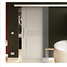 Glazen schuifdeur 90x205 cm in ESG-melkglas met Idea-Design (I) Levidor® EasySlide-systeem compleet. Looprail en stanggree...