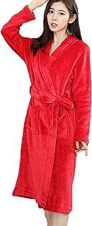 Bathrobe Women Men's Elegant Long Unisex Couple Dressing Gown Comfortable Sizes Long Sleeve V-Neck Thicken Warm Coral Flee...