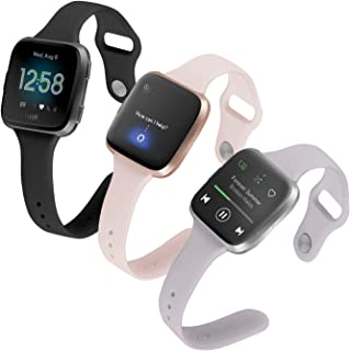 (Pack of 3) Boname Thin Feminine Bands Compatible with Fitbit Versa 2/Versa/Fitbit Versa Lite/SE,  Women Cute Slim Soft Replacement Wrist Bands for Fitbit Versa Edition