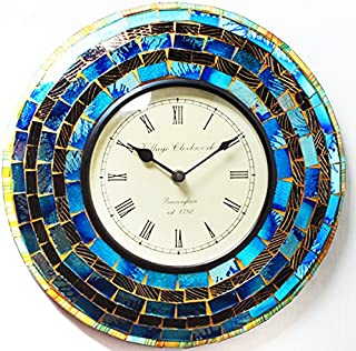 Purpledip Wall Clock 'Shimmer' - Mosaic of Glistening Blue Pieces Set in Wood Frame for Magical Effect | Size: 12 Inches Diameter (clock66)