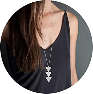 Fashion Three Triangle Arrow Long Chain Pendant Necklace For Women Metal Geometric Sweater Necklace Punk Jewelry