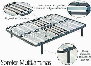HOGAR 24 Somier Multiláminas con reguladores lumbares-150x200cm-PATAS 26CM (5 Patas Incluidas)