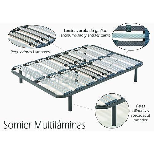 ES HOGAR24 Somier multiláminas con reguladores lumbares-140x200cm-PATAS 26CM (5 Patas Incluidas