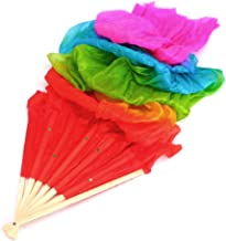 Padory Colorful Belly Dance Bamboo Long Silk Fans Veils 4 Colors Hand Made Silk Fan (Rainbow Color)