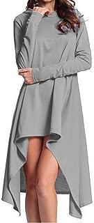 Comfy Womens Solid Plus Size Hooded Hoodies Irregular Hem Blouse Tee