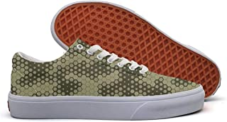 0e51df6c78308 SERXO Army hex camo Skate Shoes Wide Width Women Canvas Sneakers Print