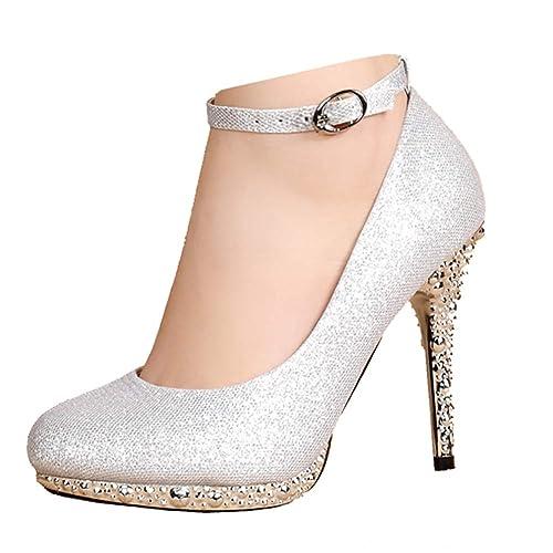 Girls Glitter Rhinestones Jewel Flower Pageant Dress High Heel Sandals Silver