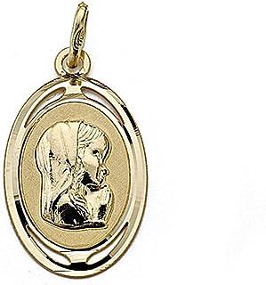 18K Gold Medal Virgen Nina 21mm. Oval [7996Gr] - Customizable - Recording Included In Price
