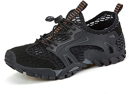 SKBROGA Sports Outdoor Sandals for Men& 039;s Leather Summer Walking schuhe Breathable Mesh Sandals for Men - Elastic Band