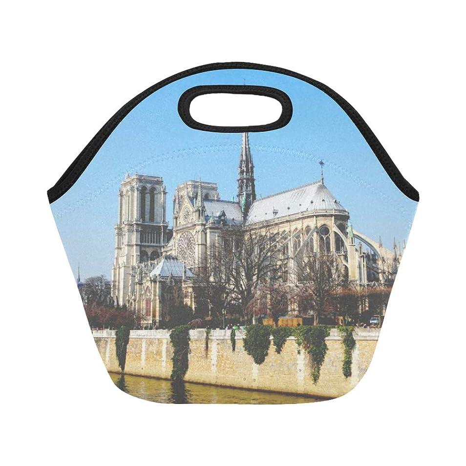 ブランド地雷原捧げるDMHYJ ランチバッグ 素晴らしい ノートルダム大聖堂 弁当袋 お弁当入れ 保温保冷 トート 弁当バッグ 大容量 トートバッグ