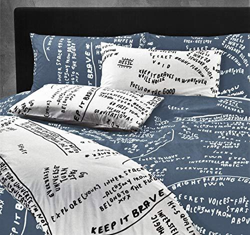 Juego de funda nórdica Diesel Scribbles para cama individual de una plaza Maxi Percal de puro algodón saco + 1 funda de almohada (no incluye sábana bajera) (Blue 003)