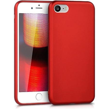 kwmobile Cover Compatibile con Apple iPhone 7/8 / SE (2020) - Protezione Back Case Silicone TPU Effetto Metallizzato - Custodia Morbida Rosso Scuro ...
