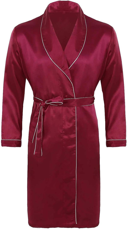 FEESHOW Men's Satin Bathrobe Nightgown Casual Kimono Robe Loungewear Sleepwear Silk Bathrobes