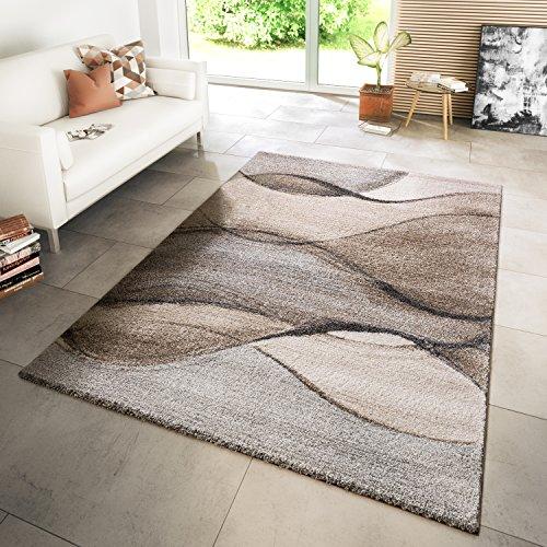 TT Home Tapis Moderne Salon Tapis Tissé Style Moderne Vagues Chiné Gris Beige Crème, Dimension:160x230 cm