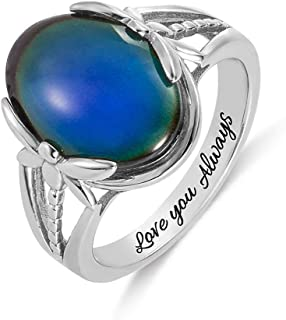"""Getname Necklace Sterling Silver Mood Stone Ring Color Changing with """"Love You Always"""" Engraved Inside - Vintage Ring with..."""
