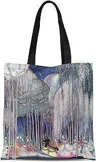 Semtomn Cotton Line Canvas Tote Bag Twelve Way to the By Kay Nielsen Dancing Princesses Reusable Handbag Shoulder Grocery Shopping Bags