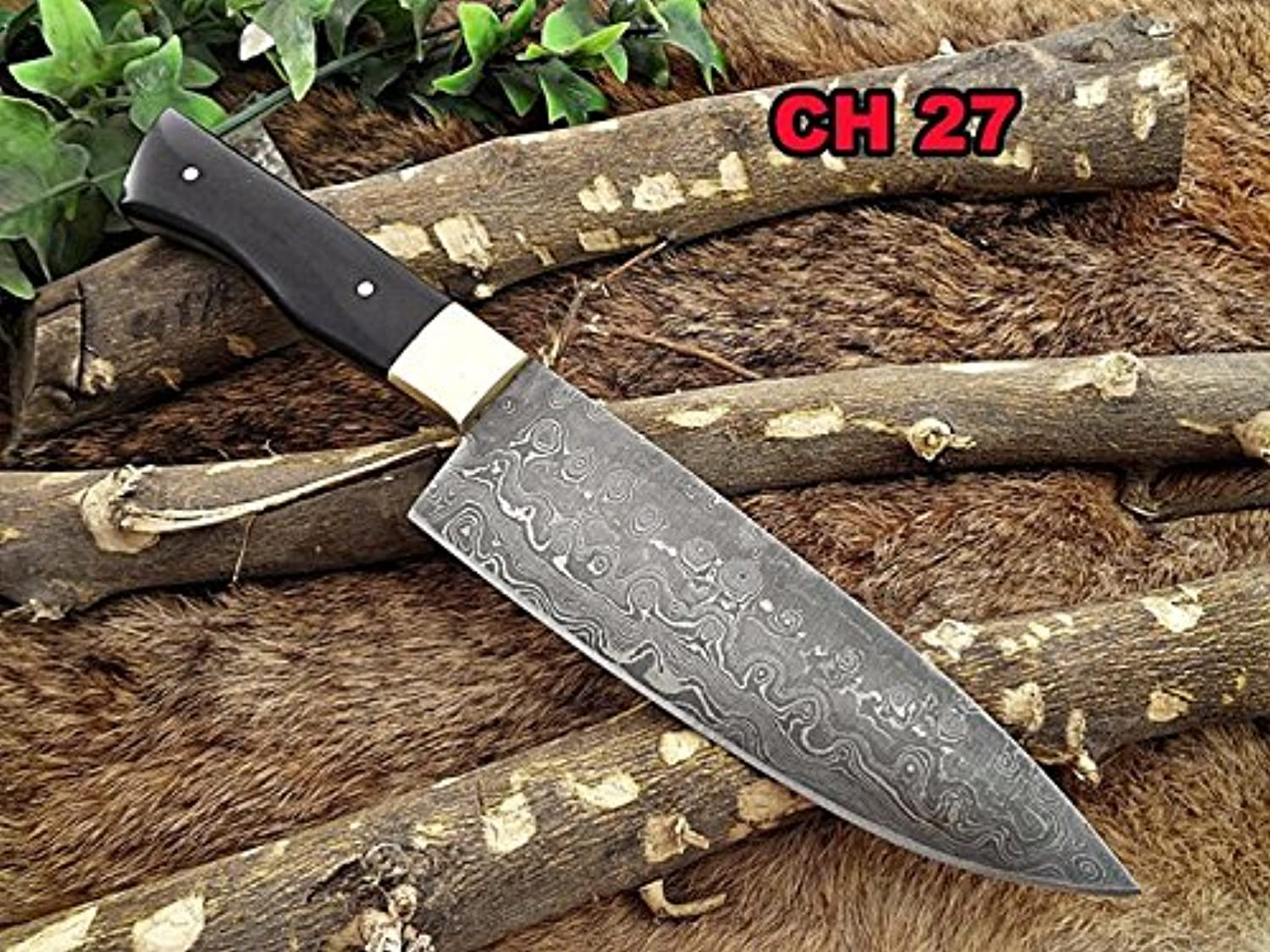 10 inches Long Hand Forged Damascus Damascus Damascus Steel Kitchen Knife, Natural Bull Horn Scale with Brass Bolster, 5.5 inches Long Cutting Edge B073RKJS6N 21ec90