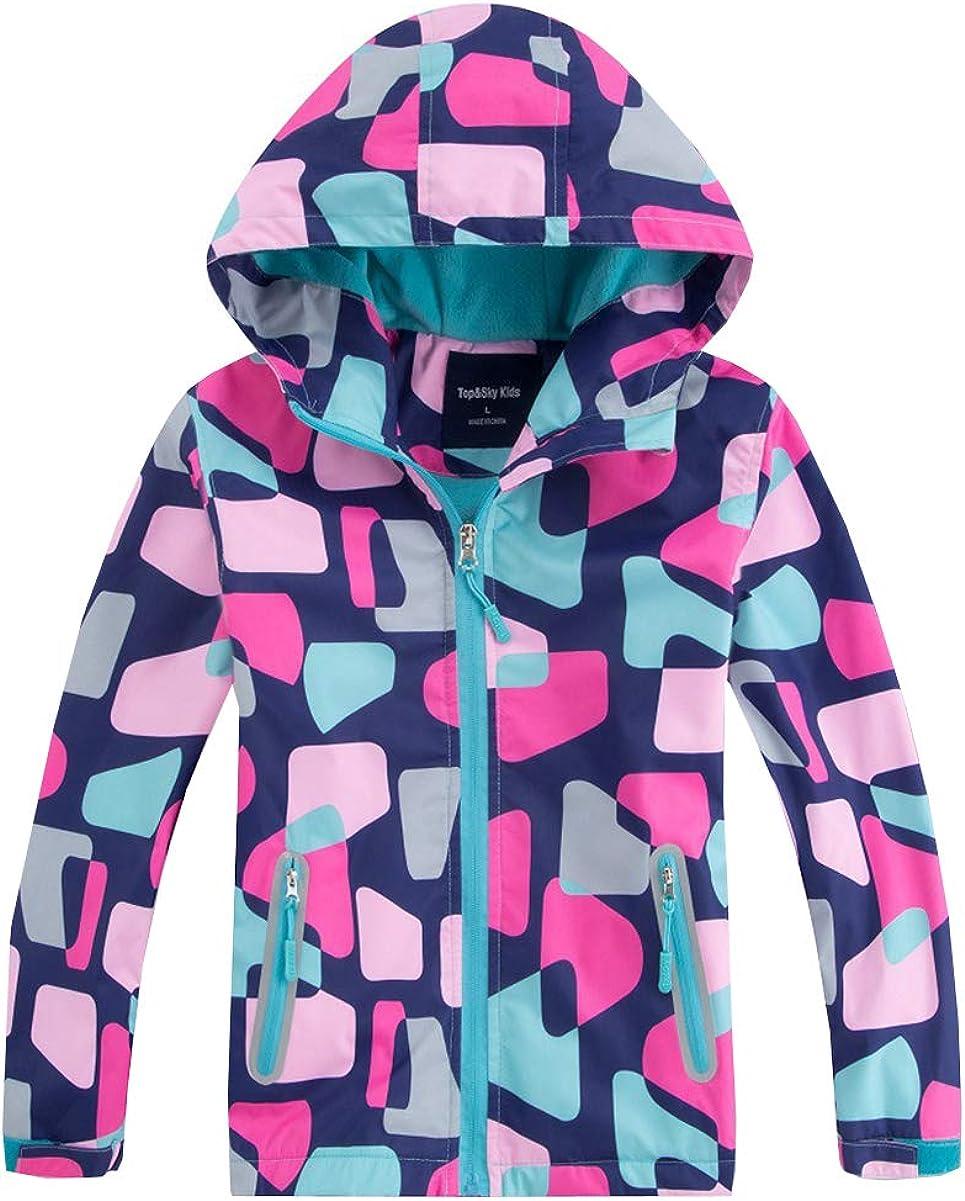 M2C Girls Outdoor Floral Fleece Lined Light Windproof Jacket with Hood