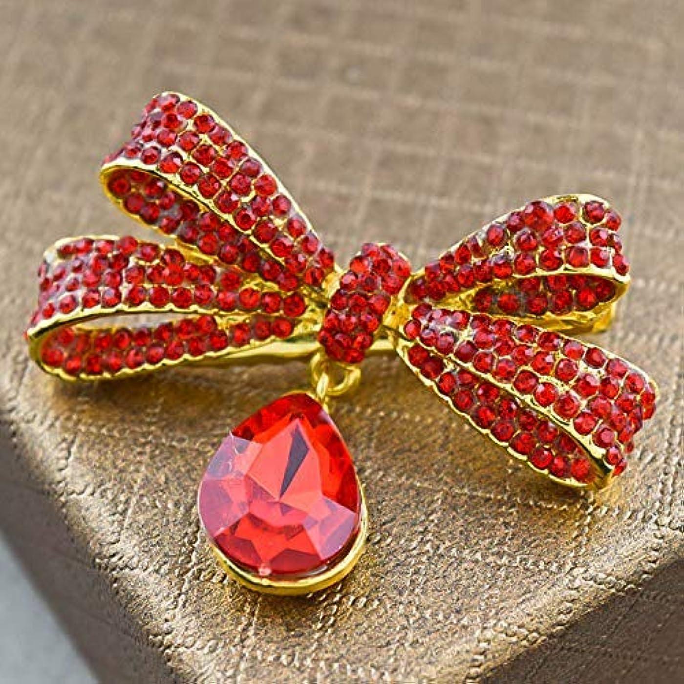 注ぎます致命的な導入するLUOSAI 結婚式のためのラインストーンの花のヘアピンエレガントなヘアアクセサリーヘアピン(赤)ヘアピン1個