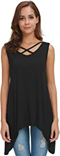 Tank Tops for Women Roundneck A-Line Casual Flowy Sleeveless Blouse T-Shirt