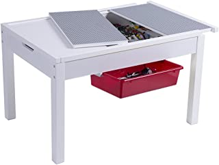 UTEX Kids 2-in-1 Activty Table with Storage, Construction Table for Kids,Boys,Girls, White