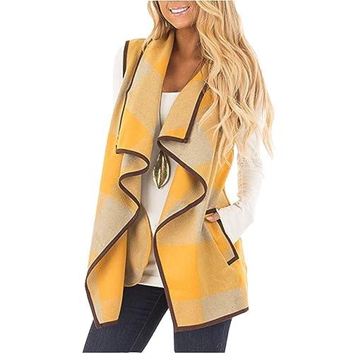 b390b411ba1 Rvshilfy Women s Color Block Lapel Open Front Sleeveless Plaid Vest Cardigan  with Pockets