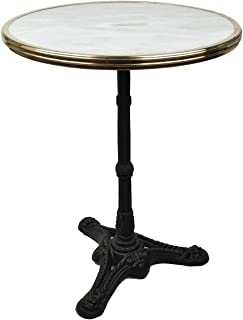 Bonnecaze Absinthe & Home White Marble French Bistro Table, 24