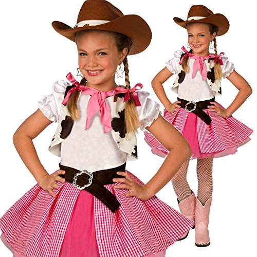 Kids Cowgirl Costume Cute Girls Pink Western Rodeo Dress Up – Medium (Age 7-9)