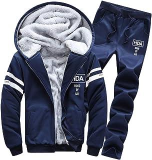 Goorape Mens Fleece Lined Sweatsuit Striped Casual Winter Coat Sports Tracksuit Darkblue XS