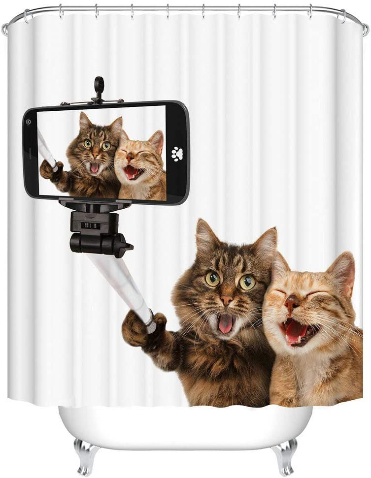 Fangkun Shower Curtain Art Bathroom Decor Set - Polyester Fabric Two Happy Cat Mobile Phone Selfie Bath Curtains - 12pcs Shower Hooks - 72 x 72 inches