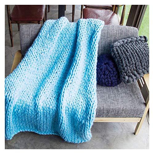 WCX Manta De Poliéster De Punto Grueso Hecha A Mano para El Sofá para Mascotas Suave De Punto para Cama O como Decoración (Color : Sky Blue, Size : 100x100cm)
