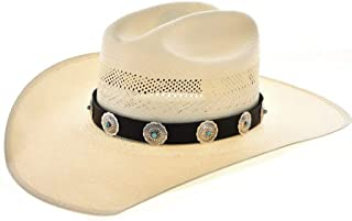 Navajo Turquoise Sterling Concho Hat Band Adjustable Hand Dyed Leather 3852