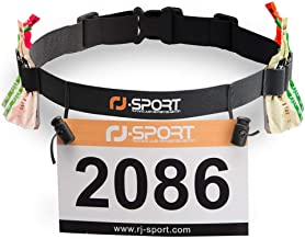 RJ-Sport Race Number Belt - Triathlon Race Belt Bib Holder with 6 Energy Gel Loops for Triathalon, Marathon, Running and Cycling
