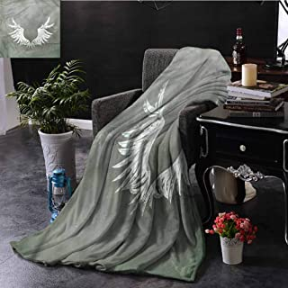 SSKJTC Grunge Blue Throw Blanket Coat of Arms Wings Livingroom Couch Bed Camping Picnic W72 xL54
