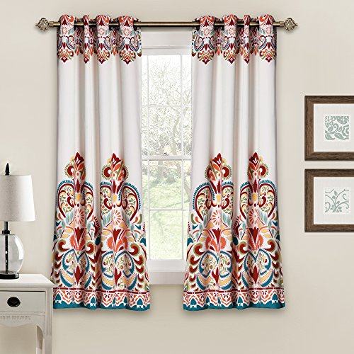 "Lush Decor Clara Curtains Paisley Damask Print Bohemian Style Room Darkening Window Panel Set for Living, Dining, Bedroom (Pair), 63"" x 52"", Turquoise and Tangerine Minnesota"