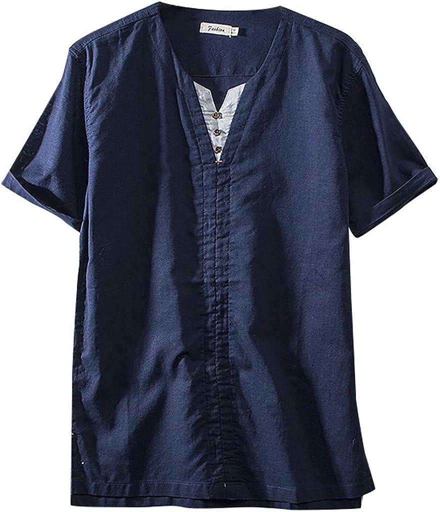 Shirt for Men F_Gotal Men's Summer Raleigh Mall Short Solid Linen Sle Japan's largest assortment Cotton