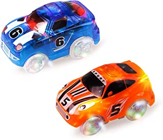 Mini Tudou Tracks Cars 2 Pack, Replacement Race Track Car with 3 LED Lights Glow in Dark Compatible with Most Tracks for Boys and Girls (Blue,Orange)