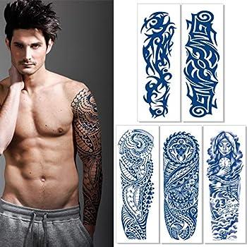 Aresvns Semi-Permanent Arm Tattoos Lasts 1-2 Weeks,Premium Realistic Sleeve Temporary Tattoo for Men Women Lifelike Dark Blue Large Fake Tattoo Stickers Waterproof and Long lasting