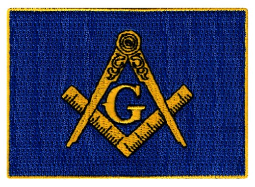 Masonic Flag Patch Embroidered Iron-On Freemason Emblem Mason G Square Compass