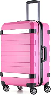 Ambassador Luggage Aluminum alloy Frame carry on Hard Shell Luggage with spinner Double wheels traveling suitcase (pink)
