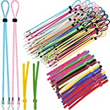 200 Pieces Adjustable Elastic Buckle Straps DIY Buckle Stretchy Sewing Elastic Band Cord, 50 Pieces Face Cover Lanyards Portable Face Cover Neck Strap Face Cover Buckles